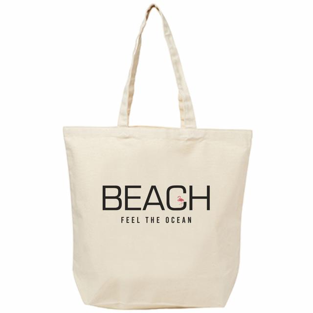 ひょっこりフラミンゴ「BEACH」ロゴトート